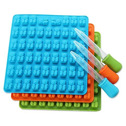 JackRuler 53 Löcher Schimmel Eiswürfelschale Gummibärchen Schimmel Tropfer Hohlraum-Silikon-Schokoladenform-Süßigkeiten-Hersteller-EIS-Behälter-Gelee-Formen(Schimmel+Tropfer)