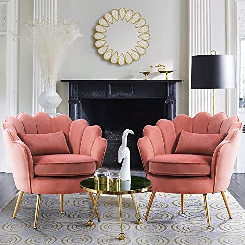 LUE BONA Accent Chair Set of 2, Modern Comfy Single Sofa Velvet Fabric...