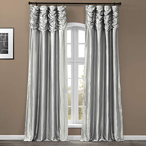 HPD Half Price Drapes PTCH-112-108-RU Ruched Faux Solid Taffeta Curtain (1 Panel), 50 X 108, Platinum