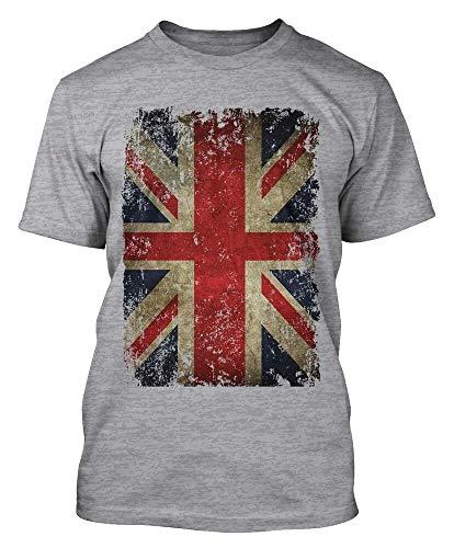 DIANNAO Union Jack Distressed Grunge Vintage UK British Flag Great Britain Mens Short-Sleeve T-Shirt Grey XL