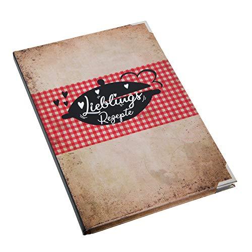Logbuch-Verlag Vintage Rezeptbuch DIN A5 zum Selberschreiben LIEBLINGSREZEPTE - DIY Kochbuch Blanko leer zum selbst Gestalten oder als Geschenk