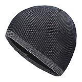 ZLYC Men Fashion Knit Fisherman Beanie Hat Winter Warm Thick Skull Cap (Plain Dark Blue)