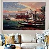 Europa moderna Venecia Ciudad de los centros turísticos del agua Paisaje marino Impresión del cartel Pintura abstracta sobre lienzo Imagen de pared para sala de estar 20x30cm Sin marco