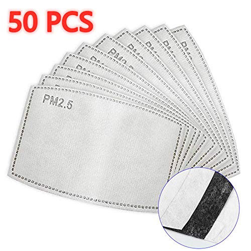 【50 Pieces】 PM - 2.5 Activated Carbon Filter Insert, 5 Layers Protective Filter Replaceable Anti Haze Filter Paper
