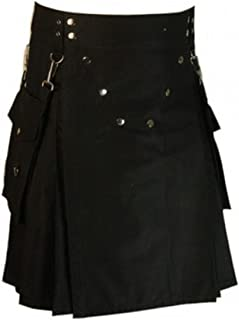 New Black Modern Detachable Pockets Utility Kilt