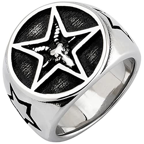 Lucifer Goat Head Pentagram Anillo De Acero Inoxidable Hombres Y Mujeres Fallen Angel Fashion Jewelry,8