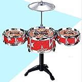 HFRTKLSAW Juego de batería Junior de Tres Piezas, Juego de batería de Jazz para niños, Juego de batería en Miniatura, Juguete Musical para niños, Mini Musical, Azul, Rojo