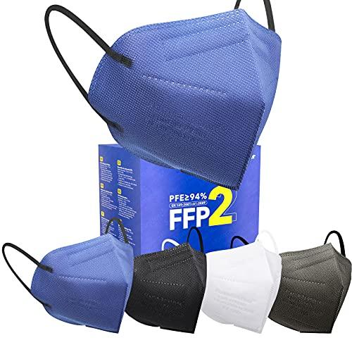 Bunte FFP2 Masken CE Zertifiziert, 4 Farben Maske, 20 Stück 5 Lagiger Filterschutz Einzeln Verpackt Atemschutzmaske - Schwarz Blau Weiß Grau Rot Rosa