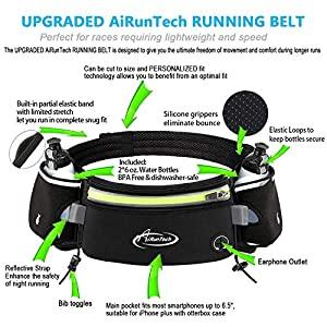 AiRunTech Upgraded No Bounce Hydration Belt Can be Cut to Size Design Strap for Any Hips for Men Women Running Belt with Water Bottle Holder with Large Pocket Fits Most Smartphones (Green)
