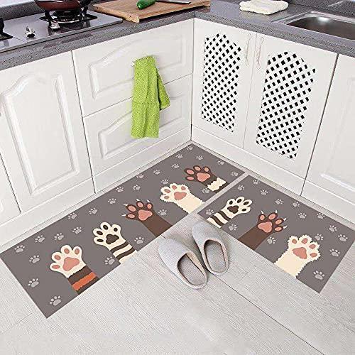 WESG Alfombrillas Antideslizantes de Cocina, alfombras absorbentes de baño, alfombras Modernas y Elegantes para Puertas de Entrada para Interiores y Exteriores NO.4 50X80cm y 50X160cm