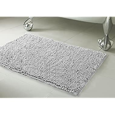 Resort Collection Plush Shag Chenille 21 x 34  Bath Mat, Light Grey