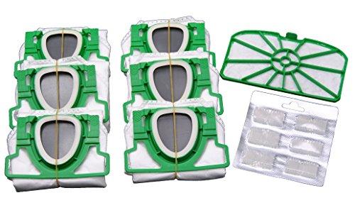 Lot de 6 sacs d'aspirateur en microfibre non-tissée pré-pliés dans un carton, 1 filtre de protection du moteur et 6 blocs de parfum pour votre Vorwerk Kobold 200 VK200.