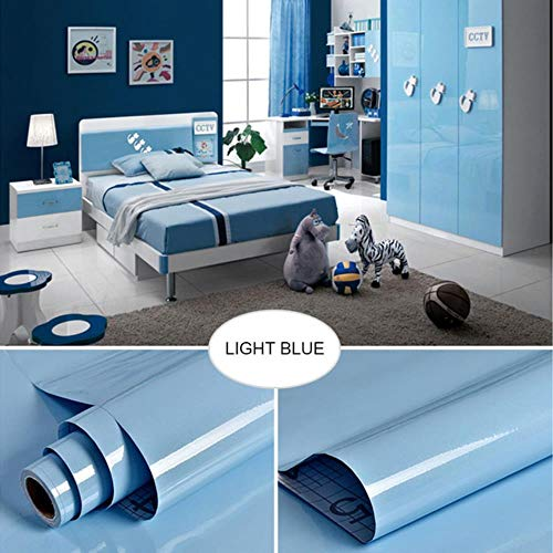 Oude meubels muurstickers koelkast deurframe stickers keukenkast waterdichte film zelfklevend oliebestendig behang, lichtblauw, 40 cm x 3 m
