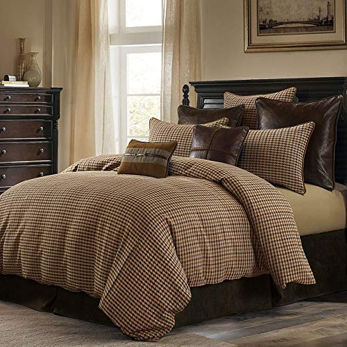 3 Piece Cabin Lodge Brown Plaid Comforter Sets King Size, Beautiful Checkered Houndstooth Pattern 350 Thread Count Rustic Bedding, Sophisticated Design Classic Look Soft Warm Comfy Cotton Bed Decor