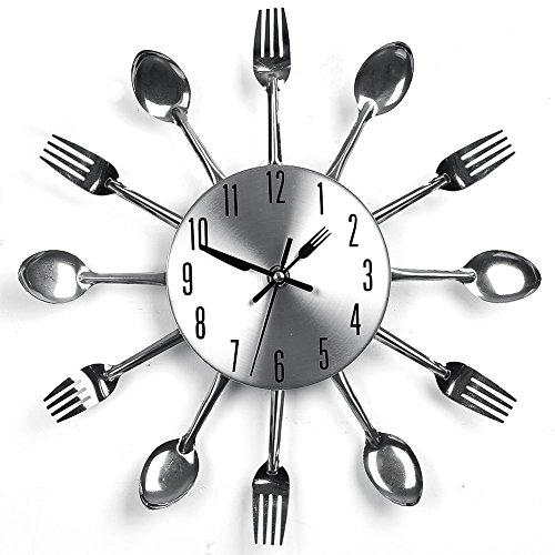 Cassiel Posate Orologio da Parete Da Cucina Forchetta Coltello Creativo Appendere Orologio Moderno Casa Ufficio Club Decorativo (Argento)
