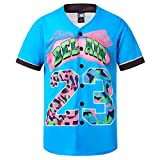 MOLPE Bel-Air 23 Printed Baseball Jersey, 90S Hip-Hop Clothing for Party (Light-Blue, M)