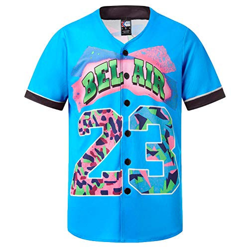 MOLPE Bel-Air 23 Printed Baseball Jersey, 90S Hip-Hop Clothing for Party (Light-Blue, L)
