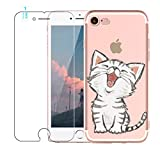 Cover iPhone 5 / 5S / SE [ Consegna Gratuita Tempered Glass Screen Protector], Blossom01 Ultra Thin Soft Gel TPU Silicone Case Cover with Cute Cartoon for Apple iPhone 5 / 5S / SE - Gattino