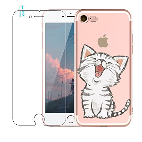 Cover iPhone 7 / iPhone 8 [ Consegna Gratuita Tempered Glass Screen Protector], Blossom01 Ultra Thin Soft Gel TPU Silicone Case Cover with Cute Cartoon for Apple iPhone 7 2016 / iPhone 8 2017, Gattino