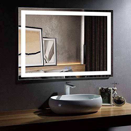 Espejo LED Deluxe - Espejo de baño LED 55 x 36 pulgadas Iluminada LED Maquillaje Mirador de baño Espejo de vestir con interruptor táctil inteligente, anti-niebla, regulable, borde pulido sin marco mon
