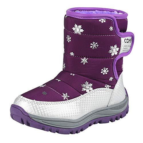 DAY8 Chaussures Fille Hiver Chaud Bottine Fille 27-30 Pas Cher Botte Fille Neige Ski Imprimé Botte Caoutchouc Fille Enfant Antidérapant Semelle Casual Bottillons Garcon Casual (Violet, 30 EU)
