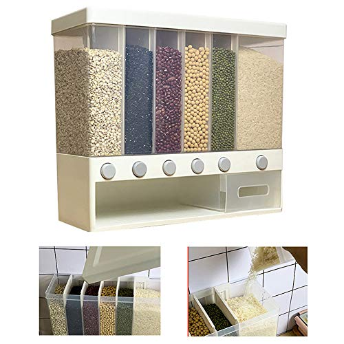 WAQIA Wall Mounted Food Dispenser,Whole Grains Rice Bucket,Large Capacity 6-Grid Storage Dry Food Dispenser, Dry Food Fruit Storage Box For Home and Kitchen
