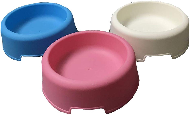 Dog Bowl Pet Bowl Small Round Environmental Light Plastic Light Pink bluee White NonSlip Single Bowl Easy to Clean Feeder,White