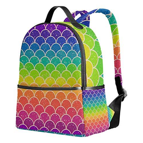 Ahomy Mochila Escolar, báscula de Pescado Ocean Wave Rainbow Bookbag de Viaje Grande Casual Mochila para Adolescentes niñas niños