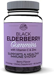 Country Farms Elderberry Gummies with Vitamin C and Zinc, Berry Flavor, 60 Gummies, 30 Servings, 60 Count (Pack of 1)