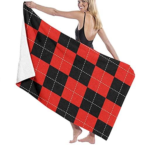 Toallas de Playa Tablero de ajedrez Rojo Punteado Toalla de Piscina Esterilla de Yoga Seque Rápidamente Absorbente Prevención de Arena para Viaje 80*130 cm