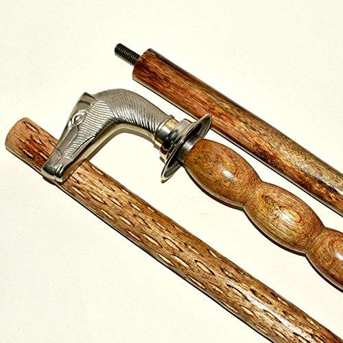 Eve Store Nauticals Bastón con cabeza de caballo, bastones de madera con mango de latón