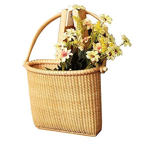 DGHJK Cestas de Pared de ratán, Organizador portátil de revistas de Flores para Colgar,Cesta de Almacenamiento Multiusos para artículos Diversos, Llave, decoración de Plantas para el hogar