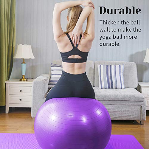 Yoga Ball Anti Burst, ZoneYan Swiss Ball with Pump, Exercise Ball Pregnancy, Gym Ball for Desk, Fitness Ball Large, Pilates Ball 55cm/65cm/75cm, Extra Thick, Suitable for Office, Home and Gym