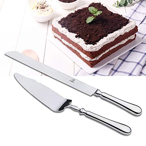 OTW PAVILION Stainless Steel Silverware Wedding Cake Knife and Server Set,10 Inch Cake Knife and Pie Server for Party Wedding Birthday(2-Piece)