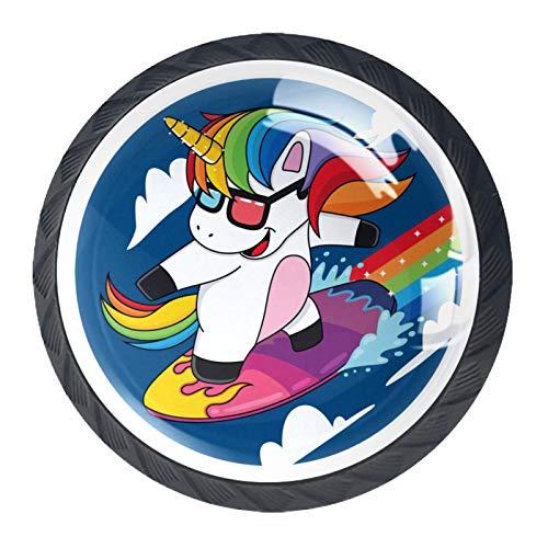 Schubladengriffe Ziehen Sie rundes Kristallglas für Home Kitchen Dresser Garderobe Cartoon Einhörner, die die Wolken Regenbogen surfen