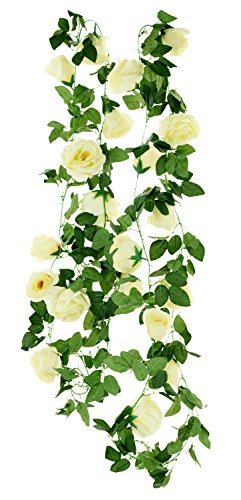 FiveSeasonStuff 2 Pcs Artificial Silk Rose Garland Vine Plant Flower Leaves (4.4m / 173 inches) Perfect for Wall Decoration, Wedding, Bridal(Cream White)