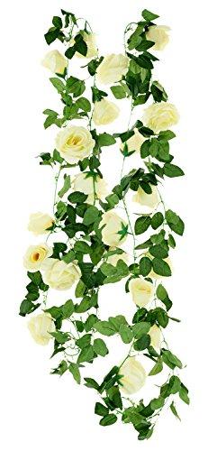 FiveSeasonStuff 2 Pezzi Artificiale Rosa Garofano Pianta Vite Fiori di Seta (4.4m), Perfetto per Decorazione della Parete, Matrimonio, Nuziale, Partito, casa, Giardino (Bianca Crema)