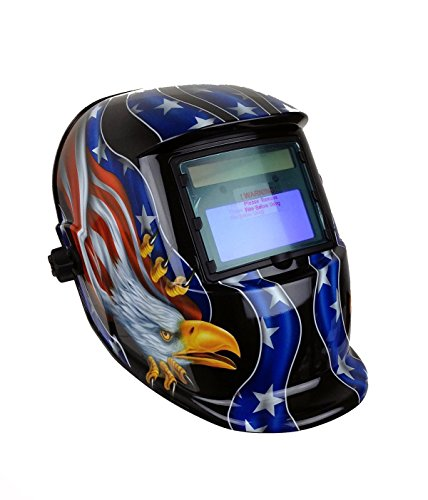 Instapark ADF Series GX-500S Solar Powered Auto Darkening Welding Helmet with Adjustable Shade Range #9 - #13 (American Eagle)