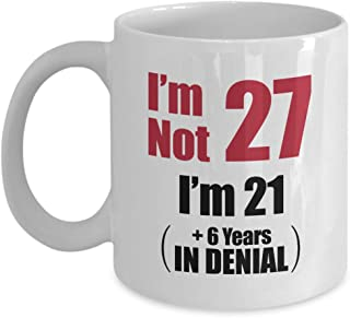 27th Birthday White Coffee Mug - 27 Year Old Birthday Funny Gift Ideas Him Her - Twenty Seven Years Age Men Women