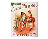 Absinthe Jules Pernod Avignon Vintage Style Metal Advertising Wall Plaque Sign Or Framed Picture Frame,Aluminum Metal Signs Tin Plaque Wall Art Poster for Home Decor 12'x8'