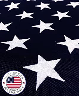 All Star Flags Heavy-Duty American Flag 5x8' -100% Made in The USA- Durable, Long Lasting, Polyester Fabric - Embroidered Stars, Sewn Stripes, 4 Rows of Lock Stitching on The Fly End, High Wind Usage