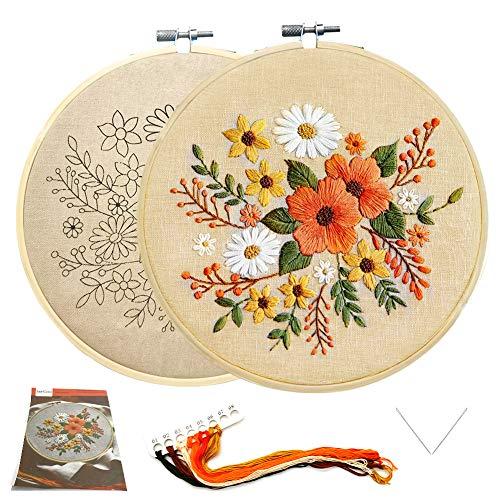 SwirlColor Starter Kit da Ricamo per Adulti in Lino Floreale Ricamo Fai-da-Te con Motivo, Libro di Istruzioni, Filo, Ago, 1 Cerchio