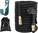 FIXKIT Garden Hose Expandable 100ft, Water Hose Pipe Made in 3 Layers of Latex, ½ and ¾, Solid Brass Fittings, 8 Different Functions Spray Pipes with Hose Hanger/Storage Bag(30m, Black)