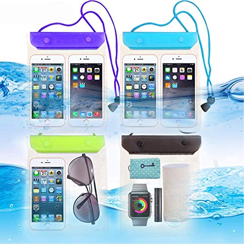 FECEDY 4 Packs Universal Waterproof Case Big Phone Dry Bag Pouch Tablet case for 2pcs iPhone 12 11 Pro Xs/XR/X/Max 10 9 8 7 6S Plus Samsung Galaxy S10 S10e S9 S8 +/Note 9 8, Pixel 3 2 XL