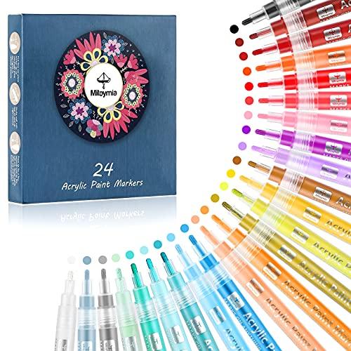 Farben Stifte Marker - Acryl Paint Marker Stifte für Felsen Malerei, 24 Vibrant Farben Paint Marker Kit für Glas Stein Holz Keramik Craft liefert für Weihnachten Ostereier Kürbis Marker