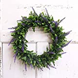 LaHomey 10-Inch Boxwood Wreath, Green Garland for Home Wedding Decoration (Green&Purple)