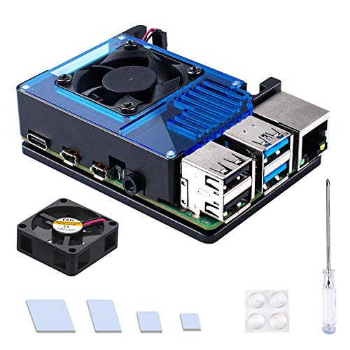 Miuzei Raspberry Pi 4 Aluminium Case, Raspberry Pi 4 Case with 35 mm Cooling Fan and Thermal Adhesive Tape for Raspberry Pi 4 Model/Pi 4B (Blue)