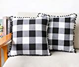 4TH Emotion Set of 2 Fall Thanksgiving Farmhouse Buffalo Check Plaid Throw Pillow Covers with Pompoms Cushion Case Cotton Polyester for Sofa Black and White, 18 x 18 Inches