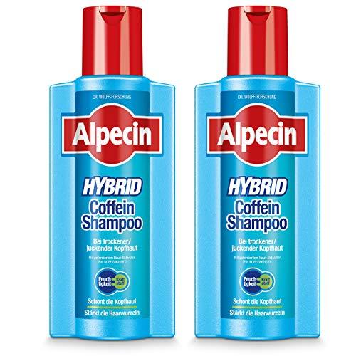 Alpecin Hybrid Coffein-Shampoo XXL, 2 x 375 ml - bei trockener oder juckender Kopfhaut | Schont Haut und Haare | Stärkt die Haarwurzeln