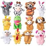 mengger Fingerpuppen, Stoffpuppen Tierfiguren Finger Tiere Plüschfigur Handpuppe Set Puppen Spielzeug 12 Stück Tier für Kinder Baby Story Zeit Requisite Lernspielzeug Fingerpuppen